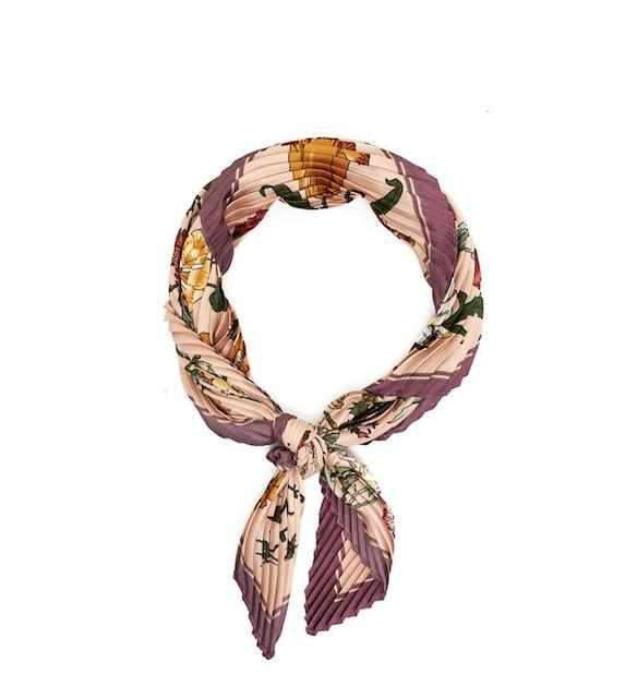Foulard Doris plissettato con fiori Nalì