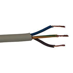 Cavo elettrico tondo sezione a 3 cavi da Ø2,5 mm. Color grigio chiaro