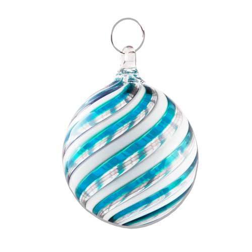 Palla Natale vetro Murano soffiato filigrana multicolore e avventurina  celeste e bianco