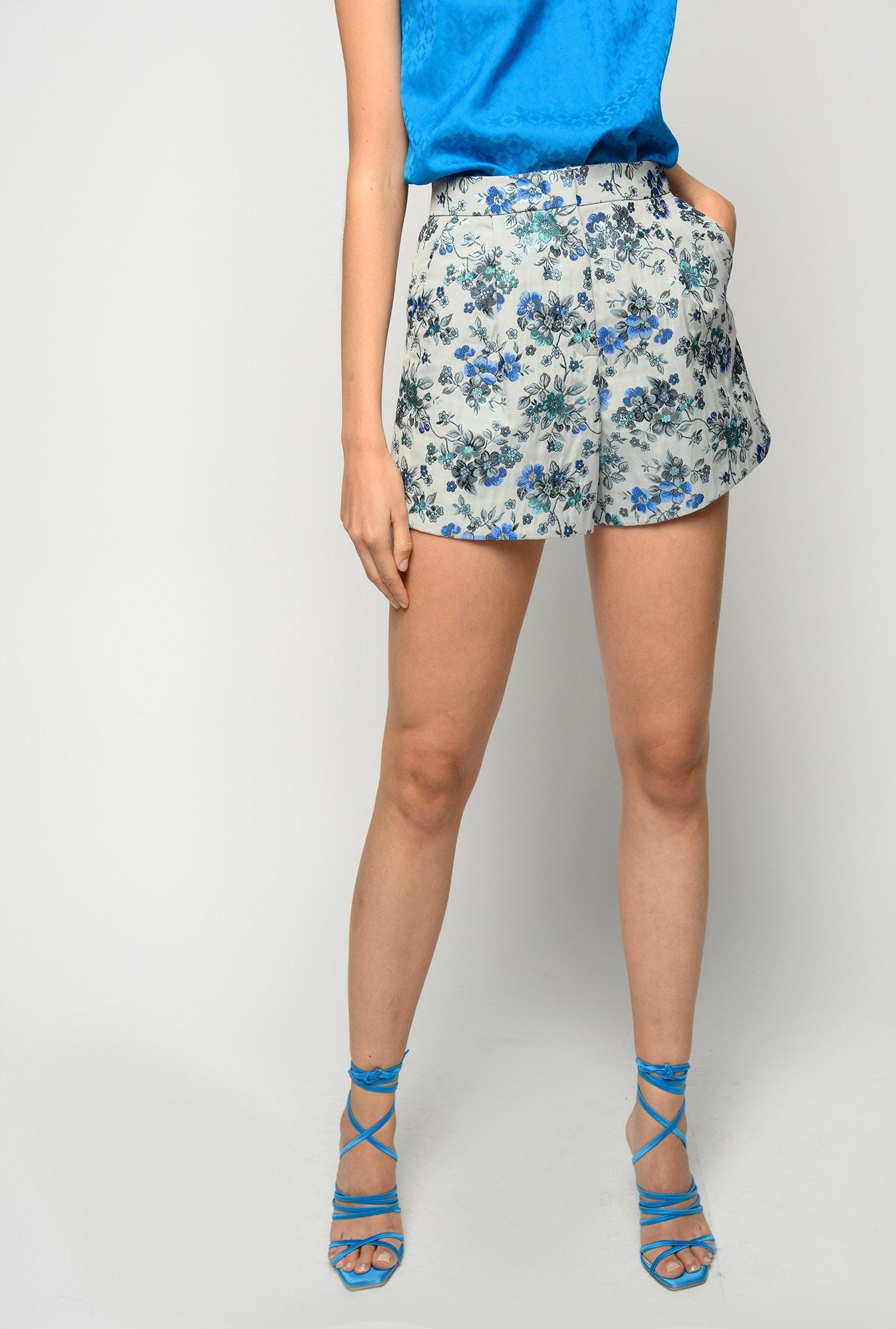 Shorts Puro in broccato floreale Pinko