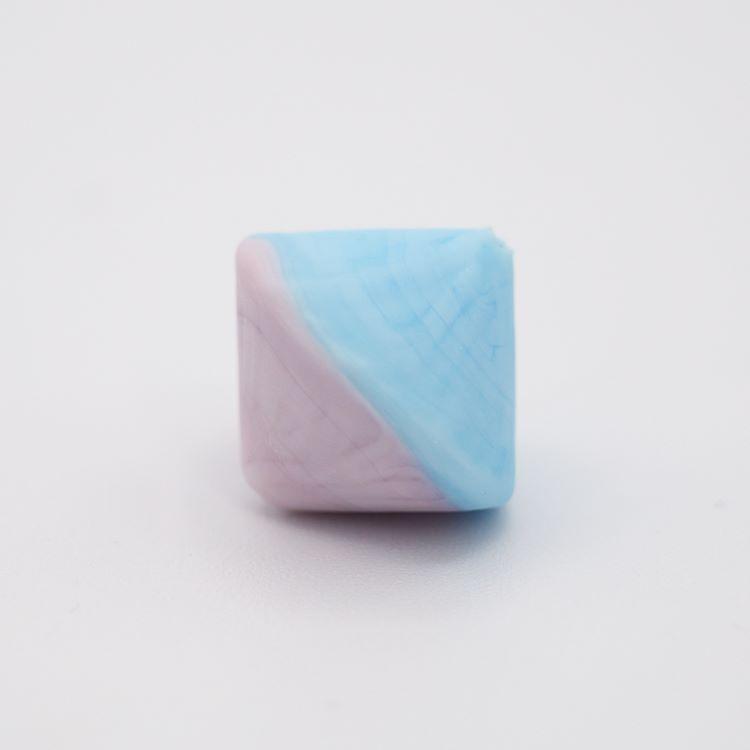 Perla Murano bicono satinato Ø18 mm h17 bicolore azzurro/rosa pasta di vetro