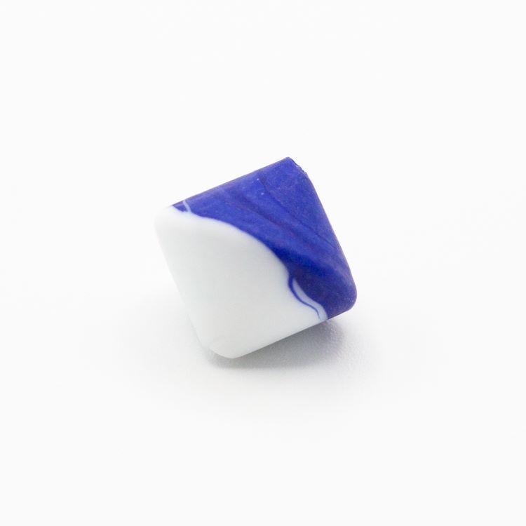 Perla Murano bicono satinato Ø18 mm h17 bicolore bianco/blu pasta di vetro