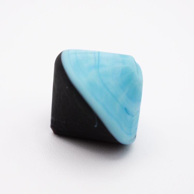 Perla Murano bicono satinato Ø18 mm h17 bicolore nero/azzurro pasta di vetro