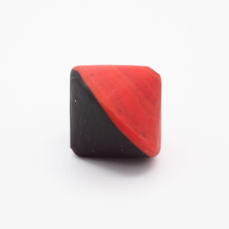 Perla Murano bicono satinato Ø18 mm h17 bicolore nero/rosso pasta di vetro