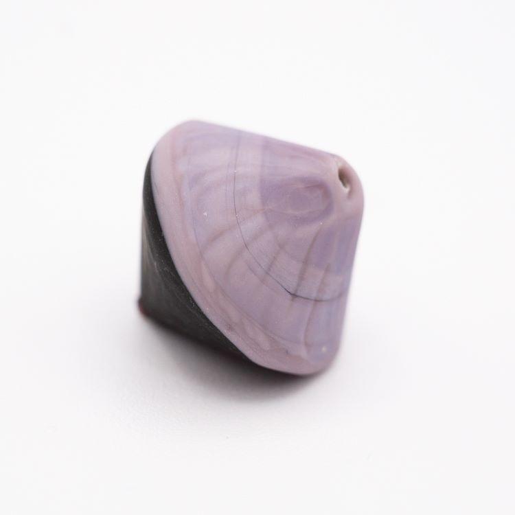 Perla Murano bicono satinato Ø18 mm h17 bicolore nero/viola pasta di vetro