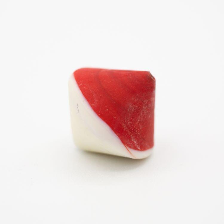 Perla Murano bicono satinato Ø18 mm h17 bicolore rosso/avorio pasta di vetro