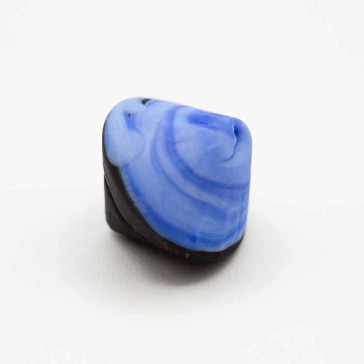 Perla Murano bicono satinato Ø18 mm h 17 bicolore nero/acquamare pasta di vetro