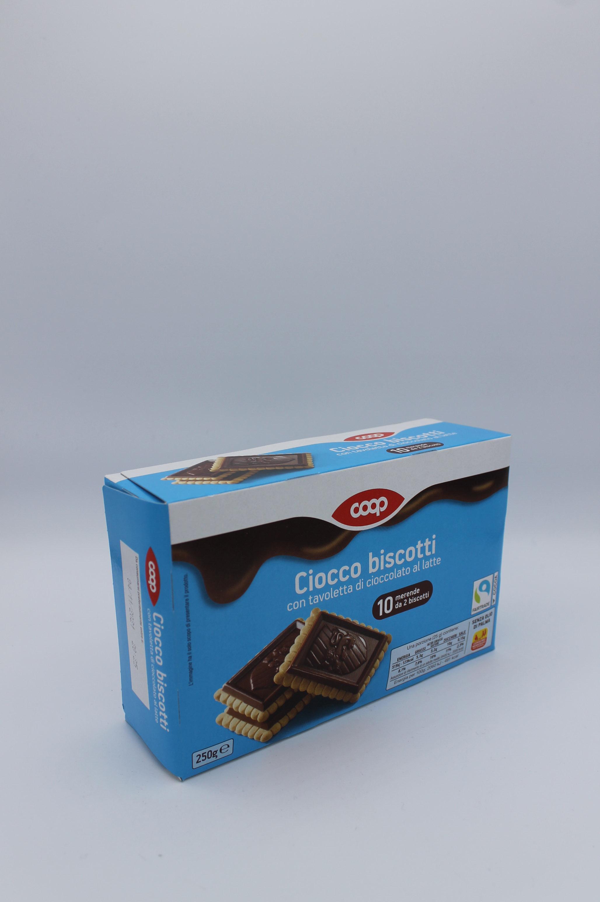 Coop cioccobiscotti 250 gr vari gusti.