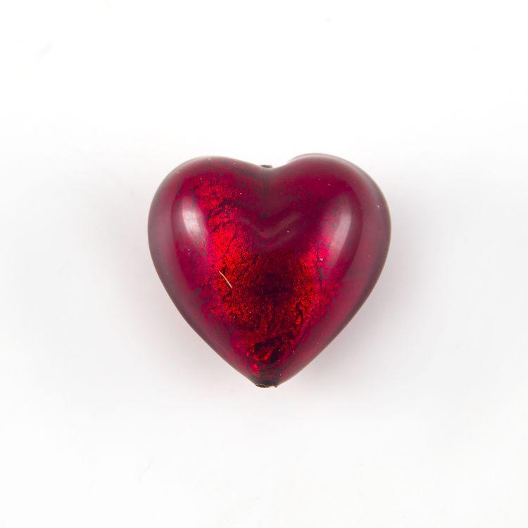 Perla cuore in vetro di Murano 20 mm. Vetro rosso, foglia oro sommersa e foro passante per bigiotteria