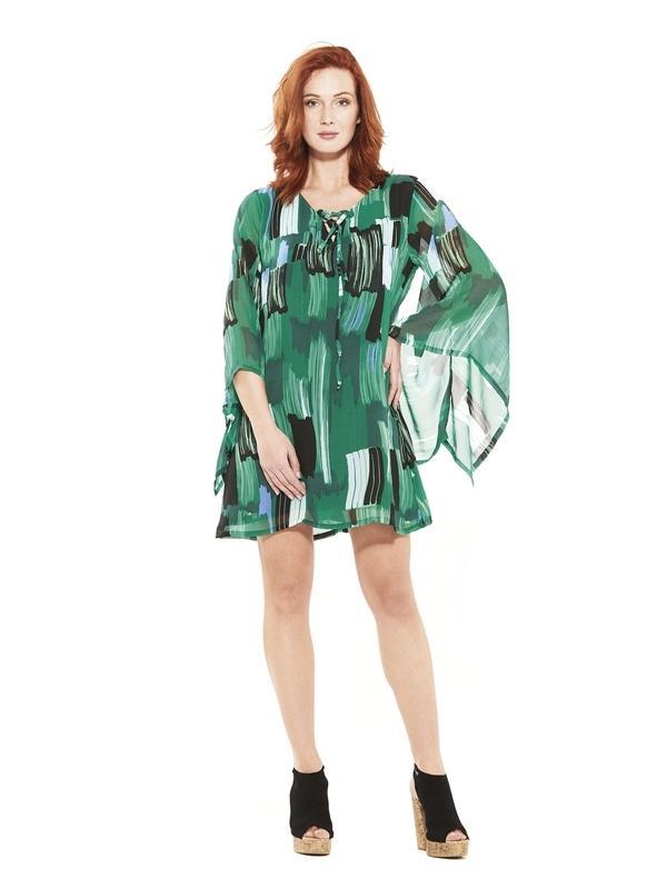 Robe courte taille confortable imprimée vert