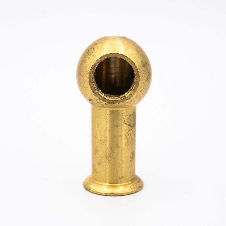 Gomito sfera in ottone grezzo Ø20 mm con 2 fori M10x1 a 90° + colletto da 2 cm + battuta.