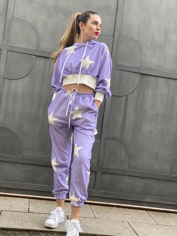 Pantaloni Lumina in felpa stampa stelle