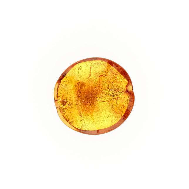Perla di Murano schissa Sommersa Ø22. Vetro topazio, foglia oro. Foro passante.