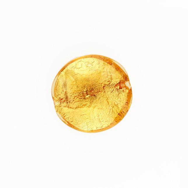 Perla di Murano schissa Sommersa Ø22. Vetro ambra, foglia oro. Foro passante.