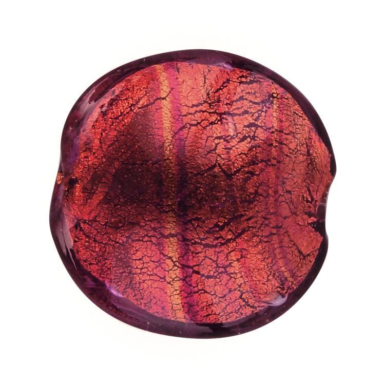 Perla di Murano schissa Sommersa Ø22. Vetro ametista scuro, foglia oro. Foro passante.
