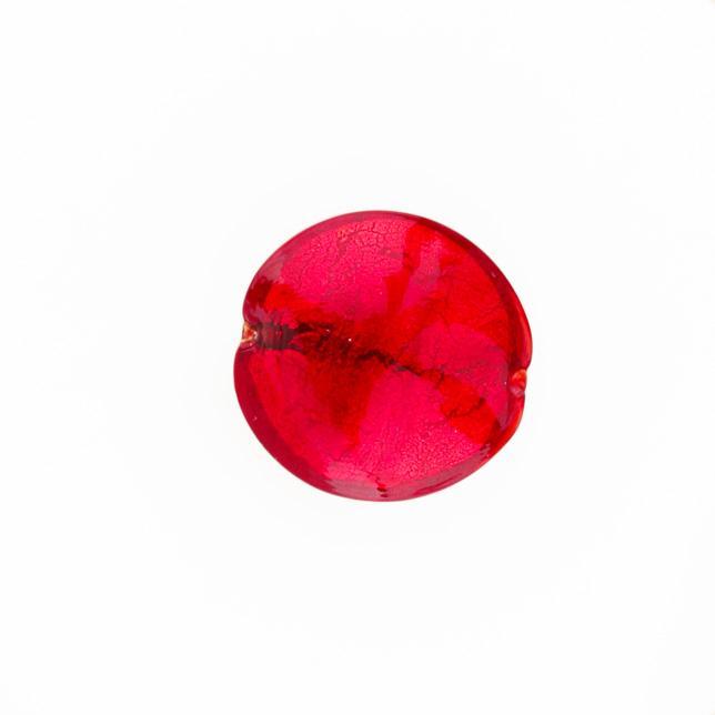 Perla di Murano schissa Sommersa Ø22. Vetro rosso, foglia oro. Foro passante.