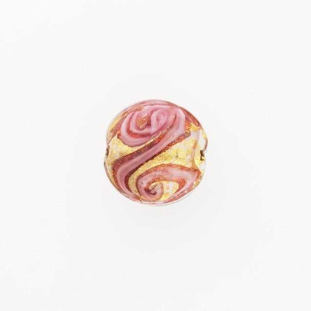 Perla di Murano schissa Medusa Ø14. Vetro rubino, foglia oro e avventurina. Foro passante.