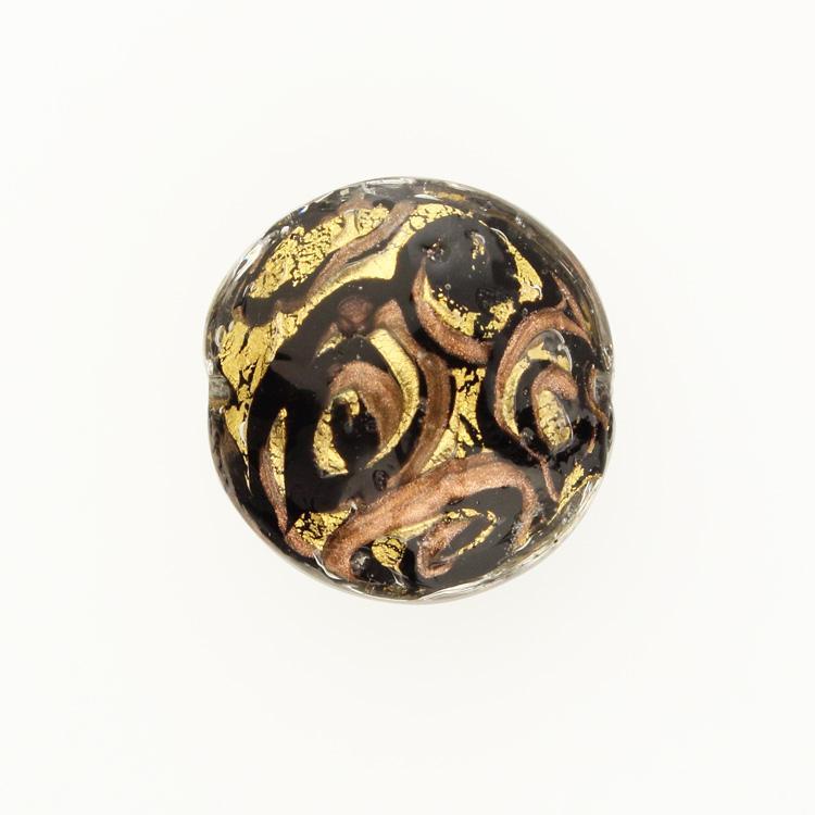 Perla di Murano schissa Medusa Ø30. Vetro nero, foglia oro con avventurina. Foro passante.