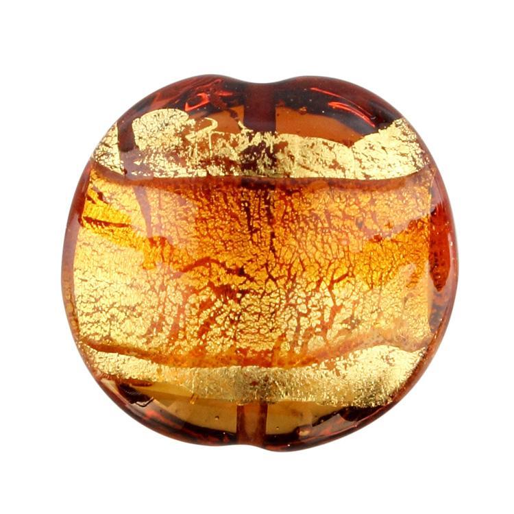 Perla di Murano schissa Sommersa Ø24. Vetro ambra, topazio, foglia oro. Foro passante.