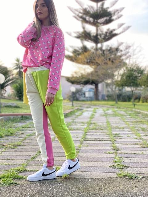 Pantaloni in Felpa Multicolor Lumina
