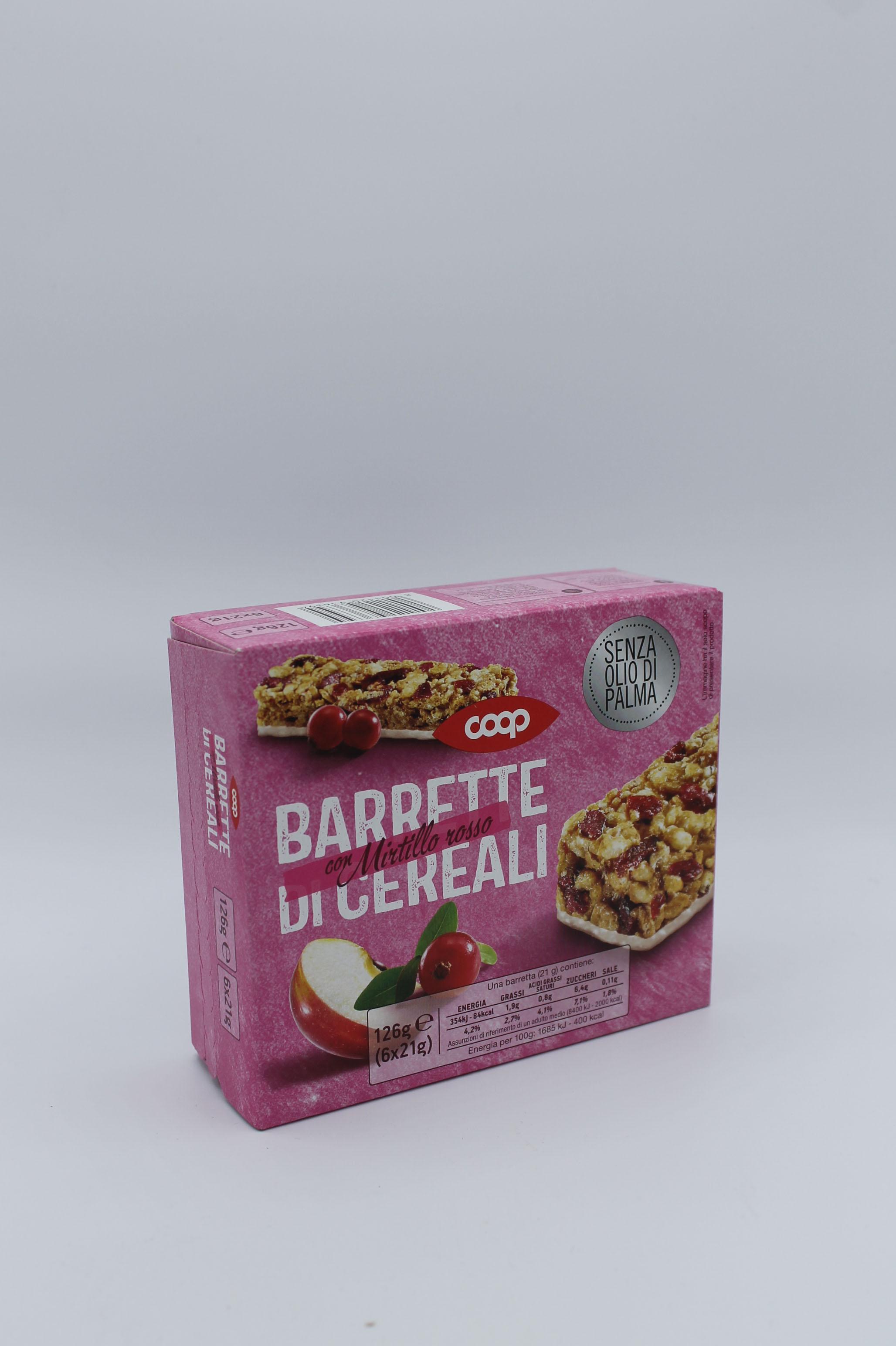 Coop barrette cereali frutti rossi 6x21 gr.