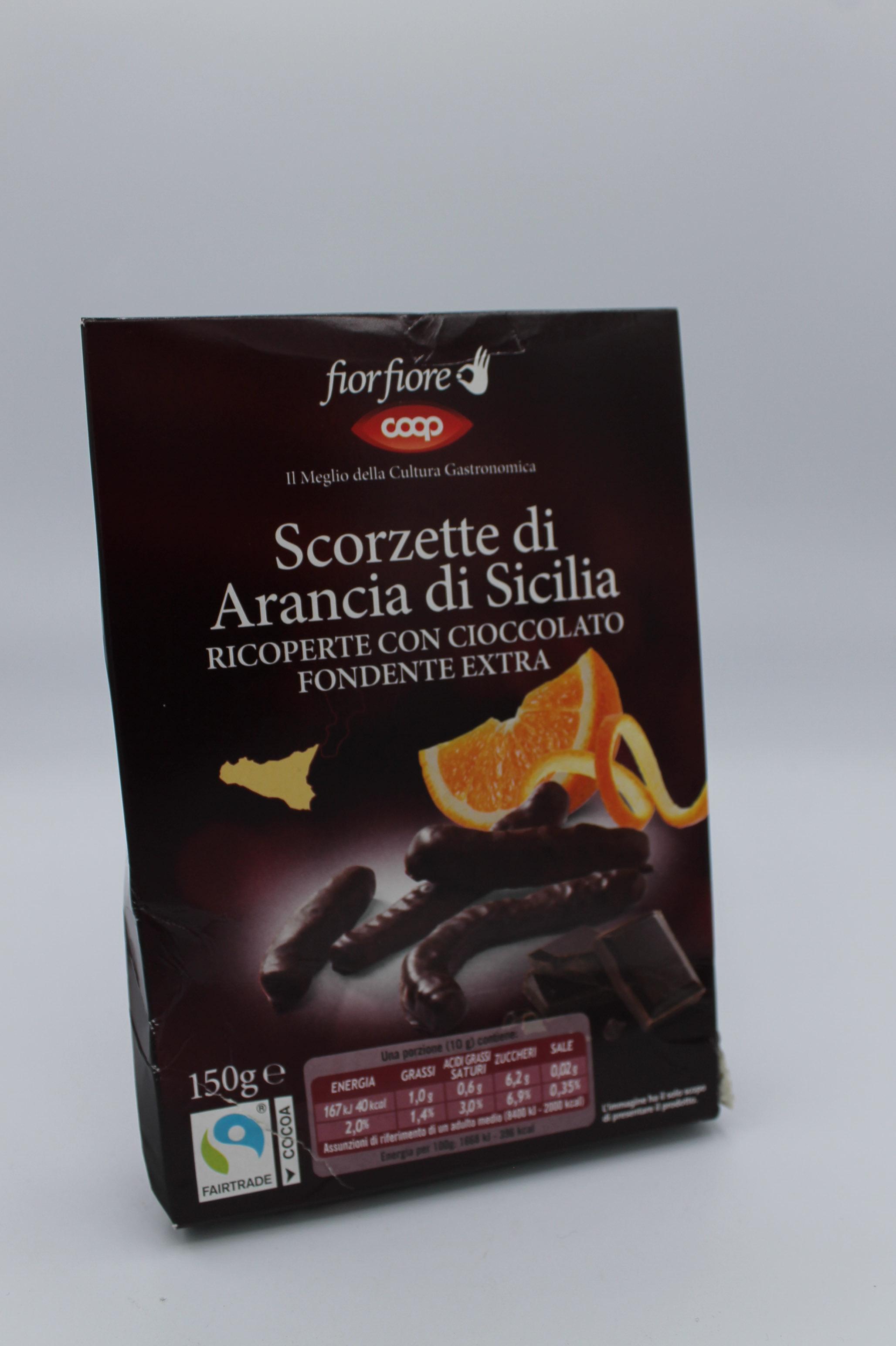 Fior fiore coop scorzette candite arancia con cioccolato fondente 150 gr.