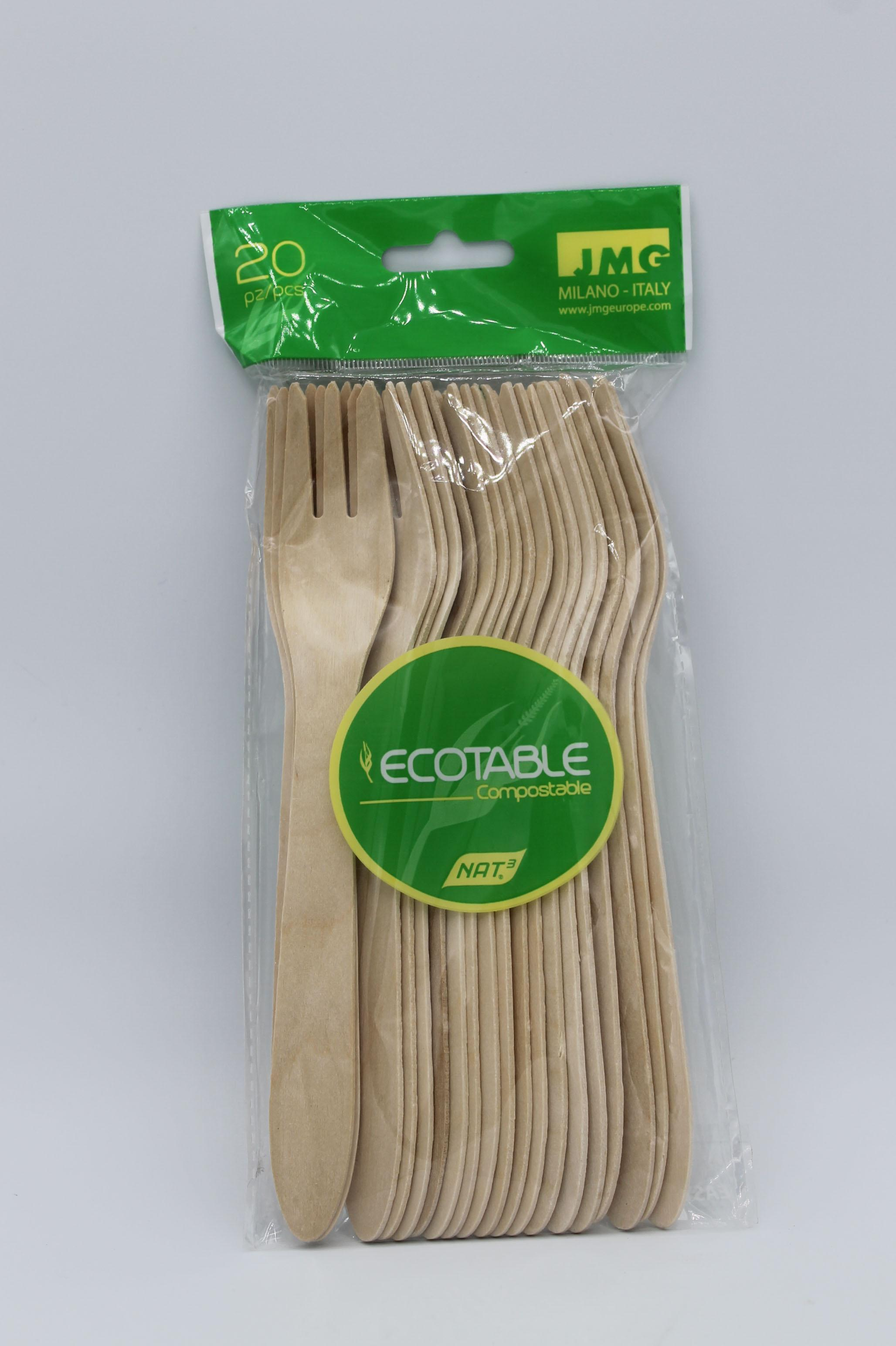 Ecotable forchette in legno 20pz.