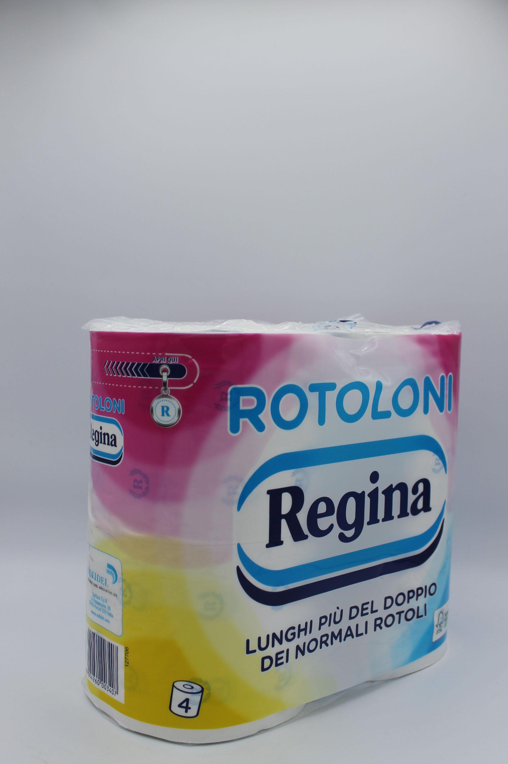 Rotoloni Regina 2 veli 500 strappi 4 rotoli.