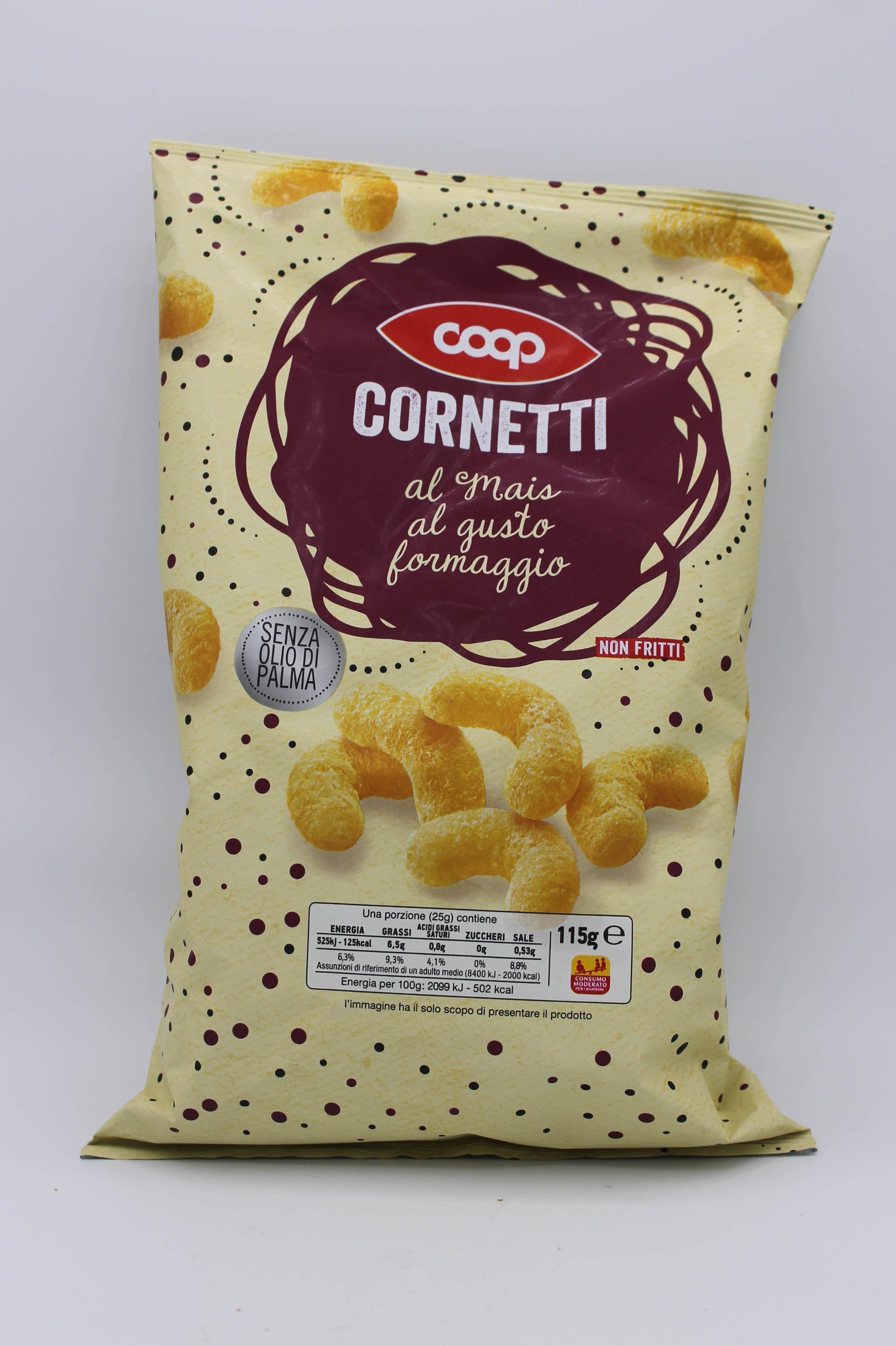 Coop cornetti di mais al formaggio 115gr.