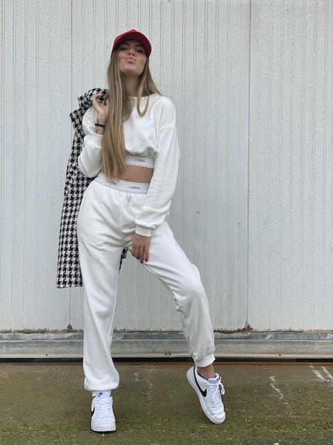Pantalone Lumina in felpa con elastico logo 3 Colori