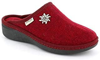 Pantofola donna CI0938ALDE bordò lana cotta tacco medio fondo gomma
