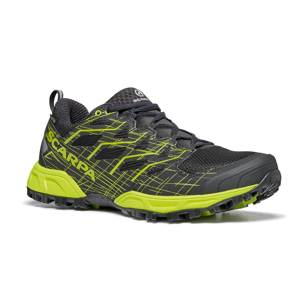 Scarpa da trail rubbin colore nero verde acido