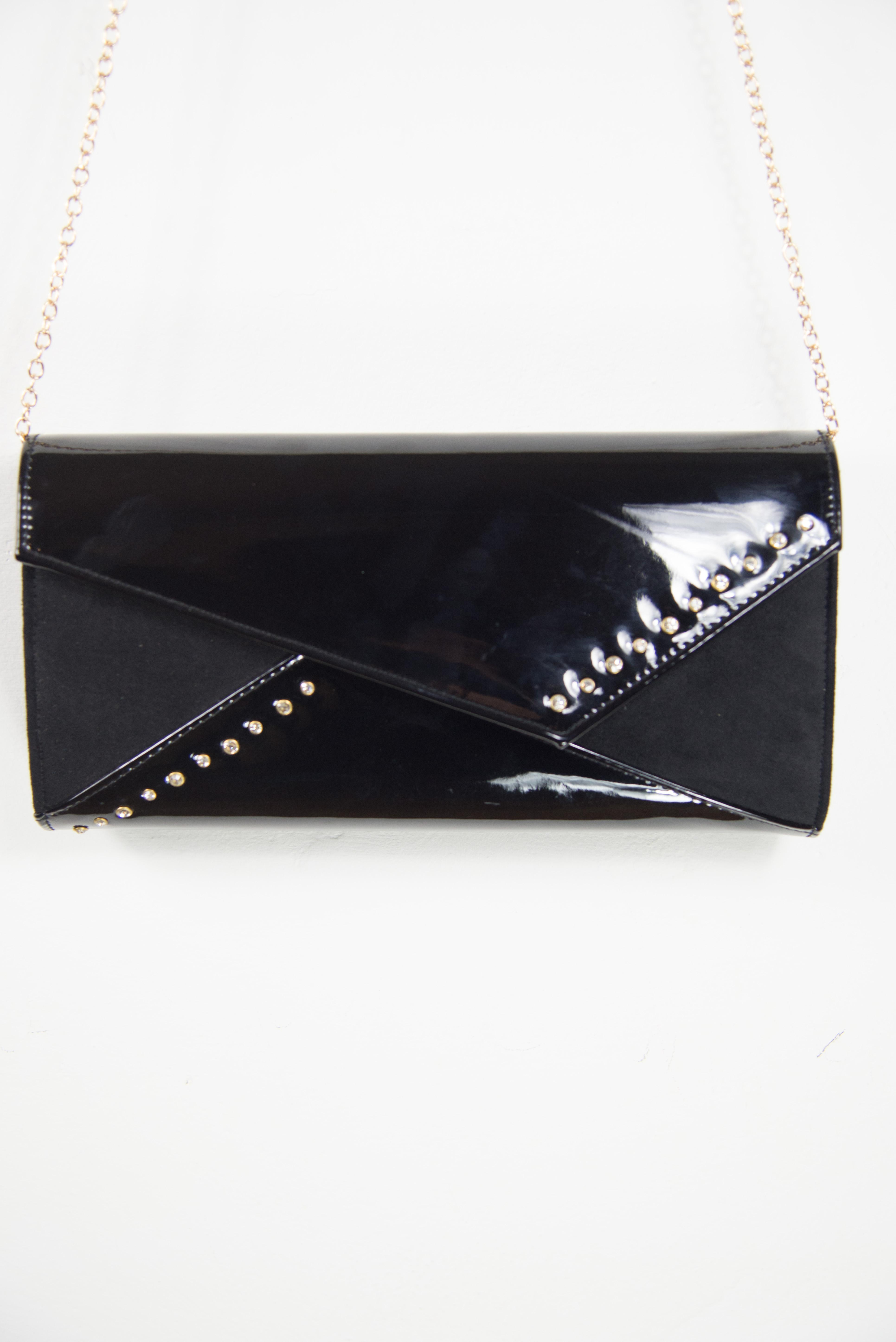 Large, comfortable black clutch | Online glossy leather clutch bag