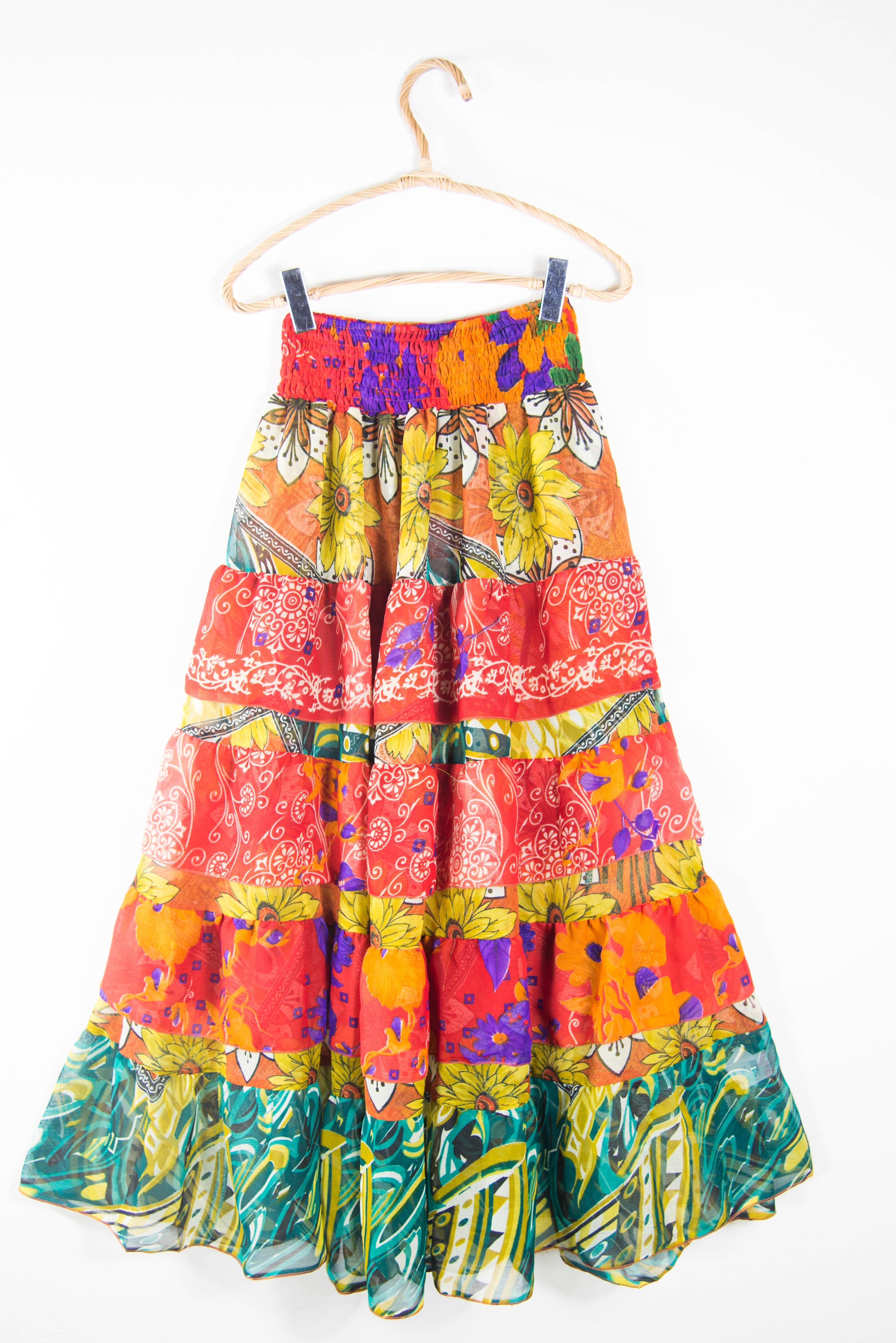 Ethnic style flounced skirt. Women's clothing online