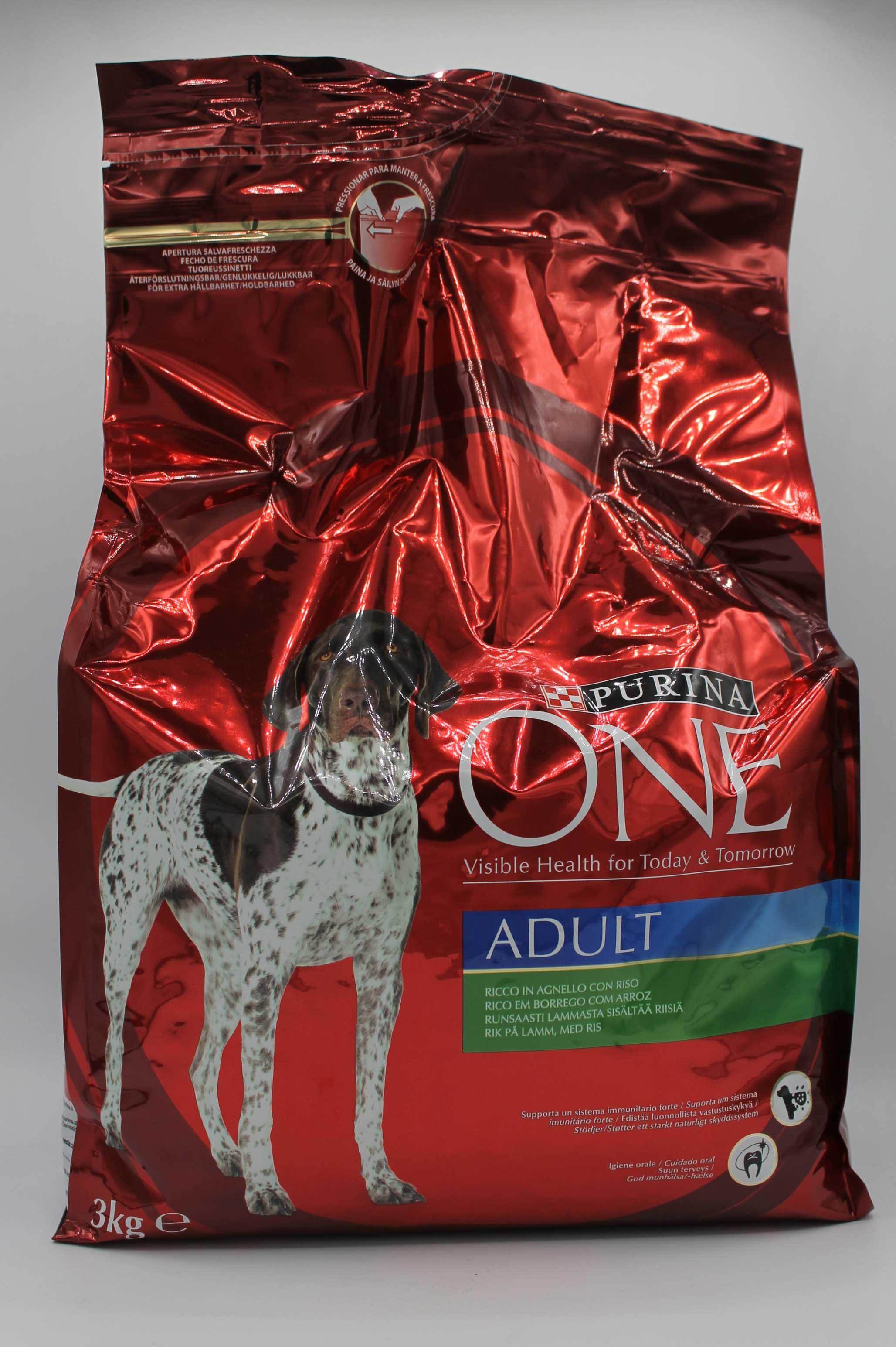 Purina one crocchette cane agnello&riso 3kg.