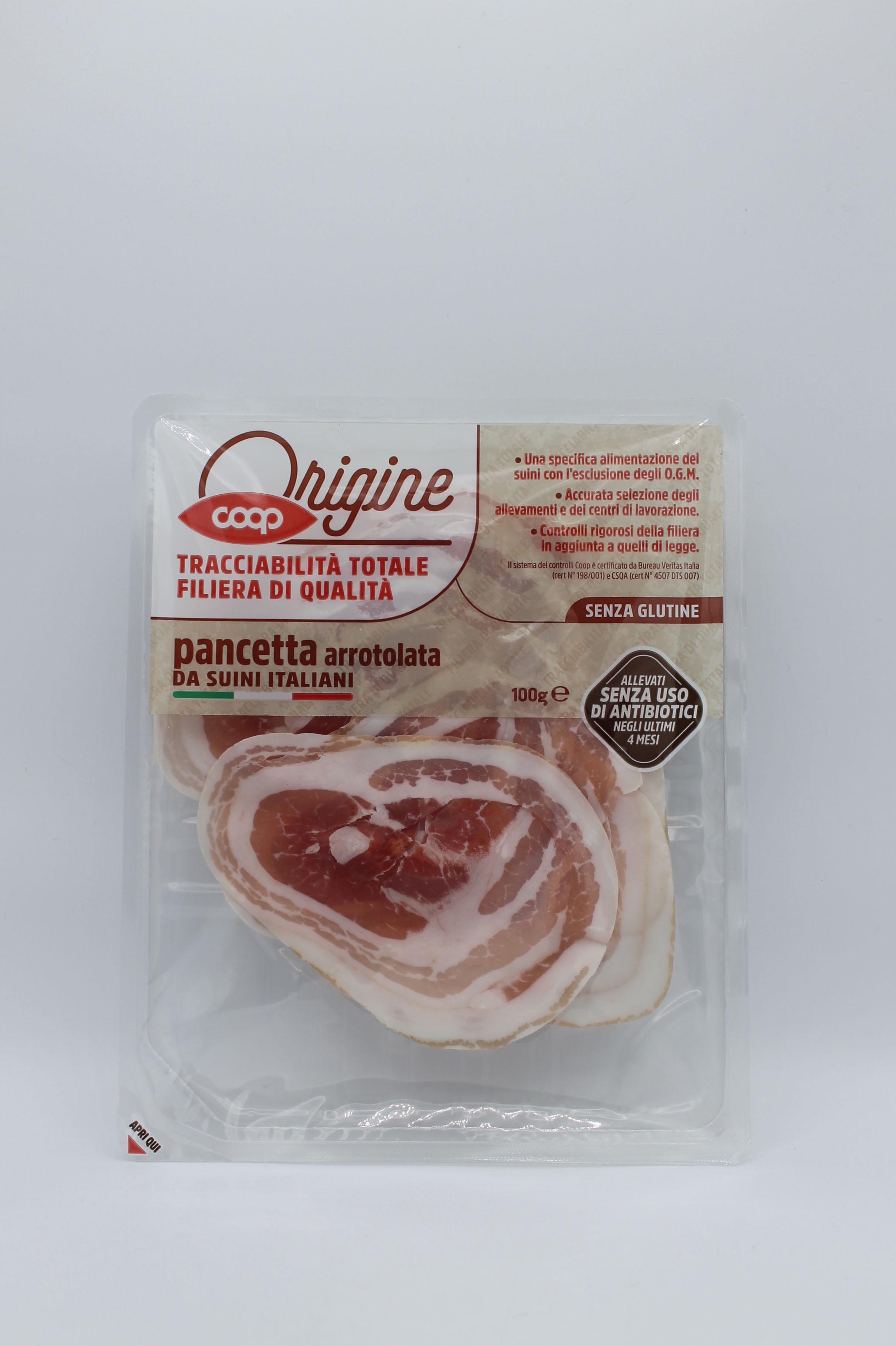 Coop origine pancetta arrotolata 100gr.