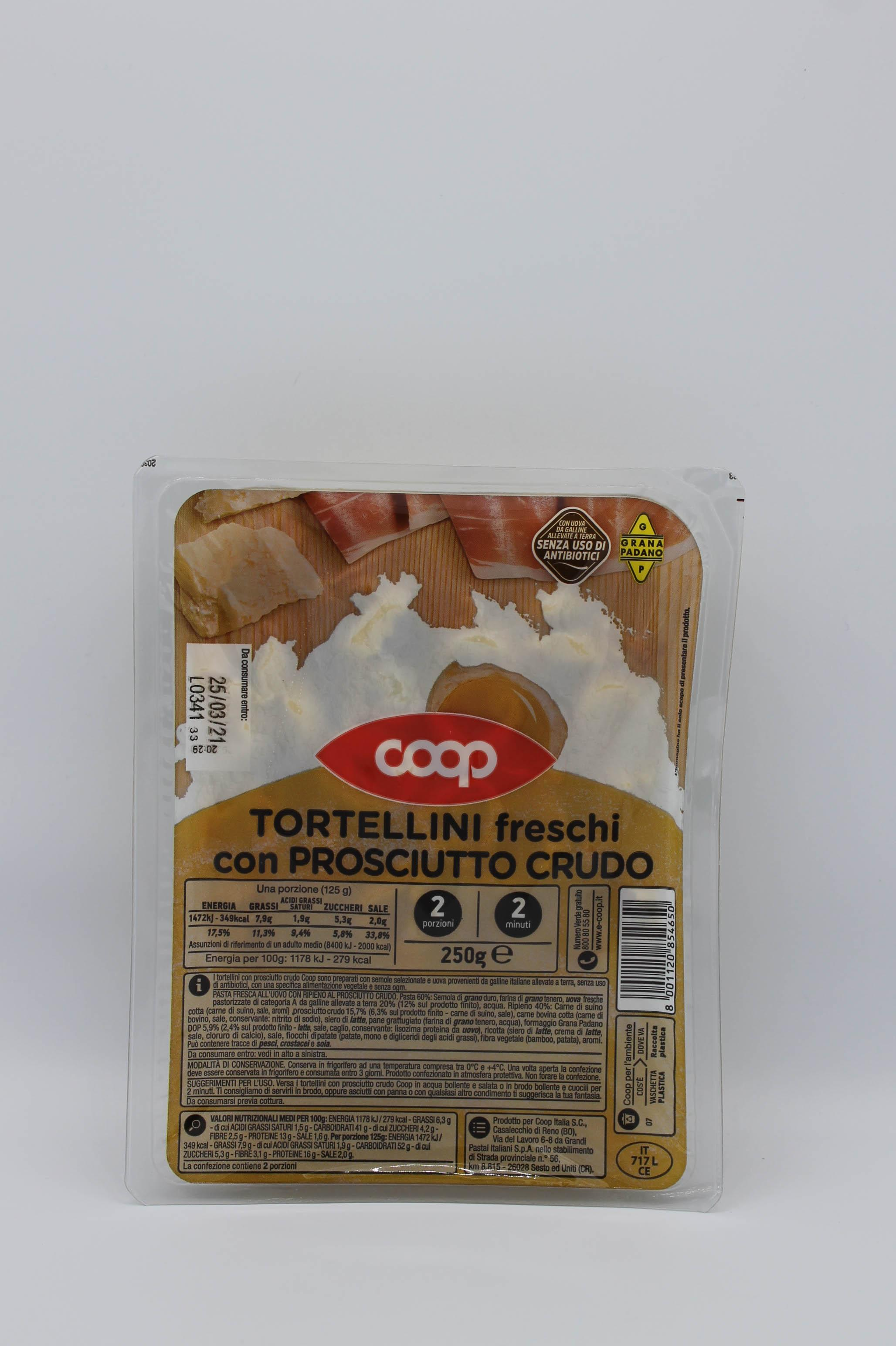 Coop tortellini freschi prosciutto crudo 250gr.