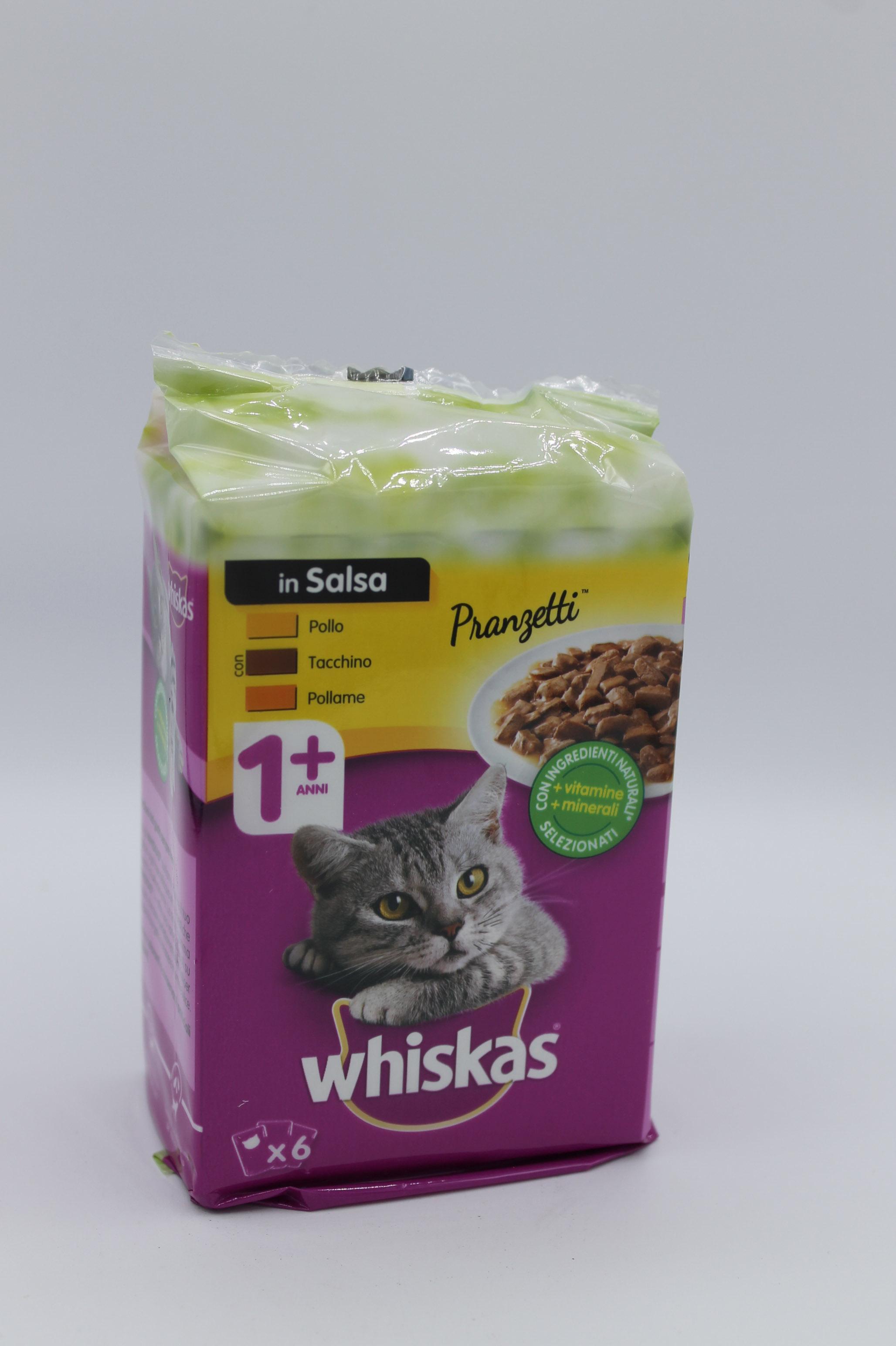 Whiskas pranzetti gatto 6X50gr vari gusti.