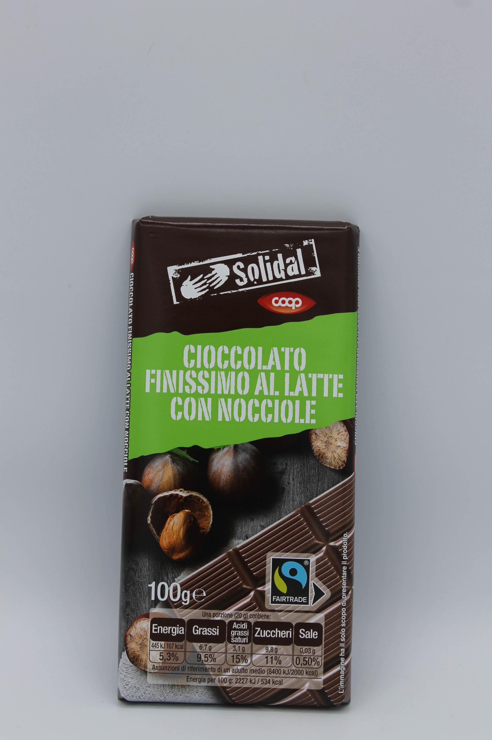 Coop tavoletta cioccolato latte con nocciole 100gr.