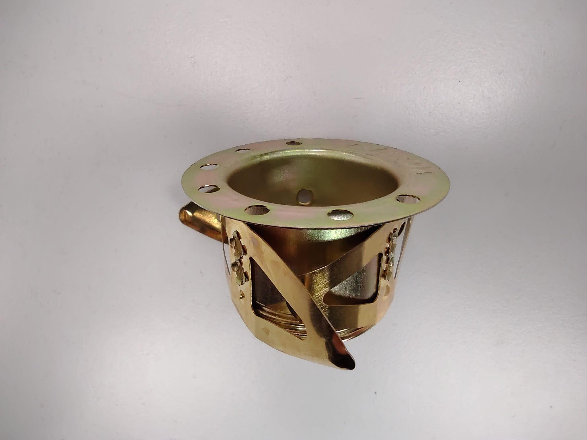 Ghiera ottonata a 3 molle E14 per bloccaggio vetro. Misure Ø45 x h26 mm.