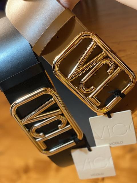 Cintura in pelle Vicolo con fibbia oro VCL