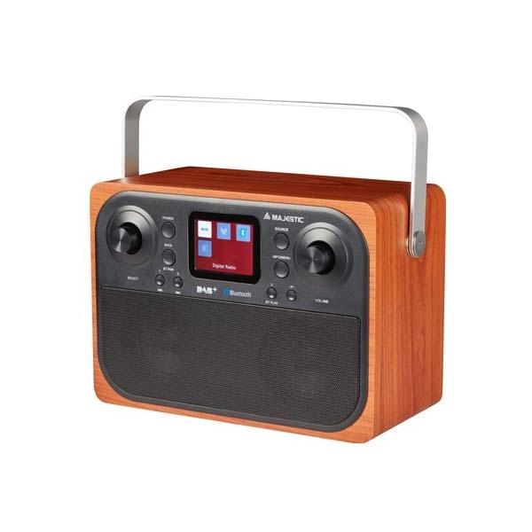 New Majestic RT-197 DAB radio Orologio Digitale Nero, Legno
