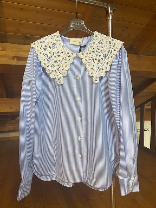 Camicia righe Vicolo colletto macramè