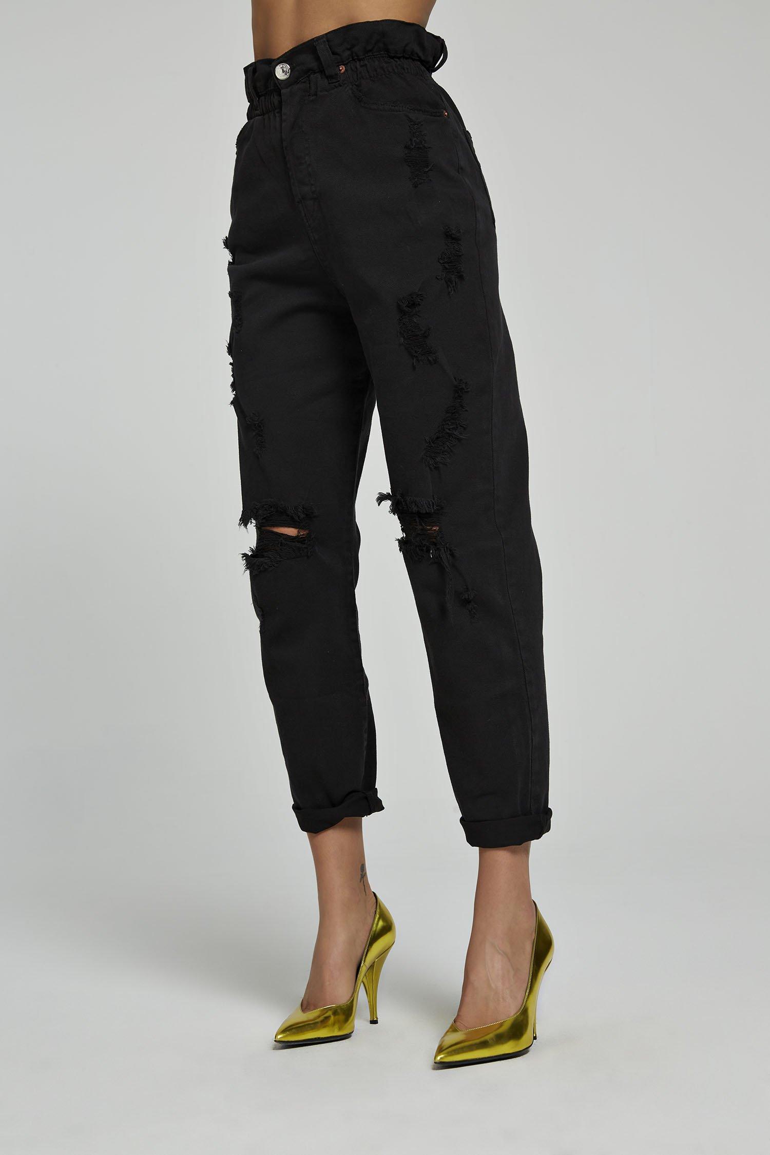 Jeans Ruffle Denim nero Aniye By
