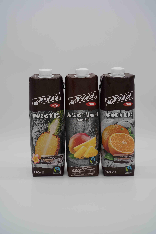 Solidal coop succhi 100% frutta 1 lt vari gusti.