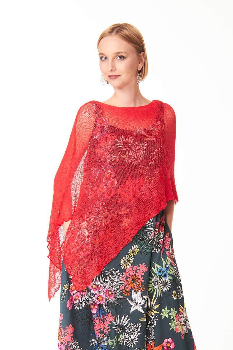 Ponchetto Rosso Ibiscus | Accessori moda casual chic