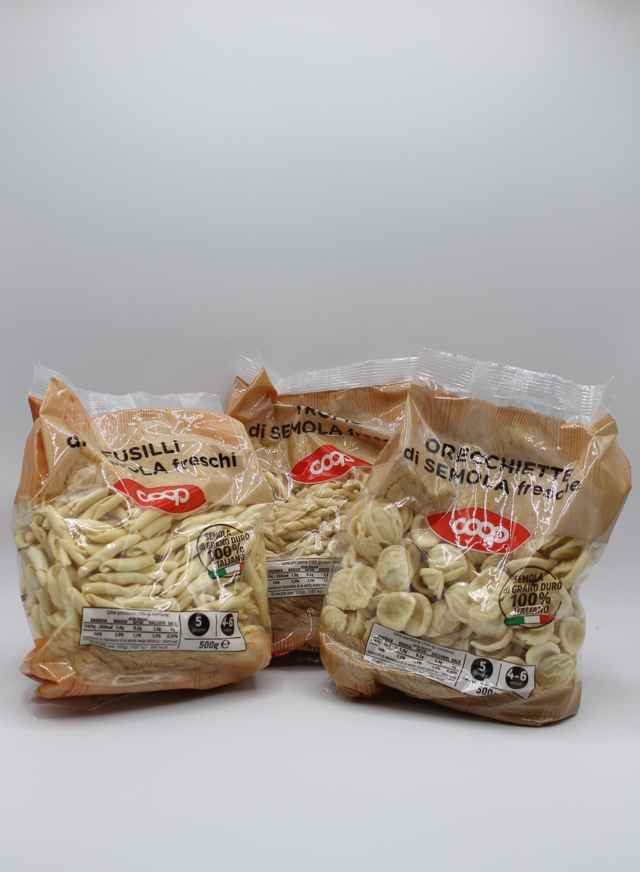 Coop pasta fresca 500gr vari formati.