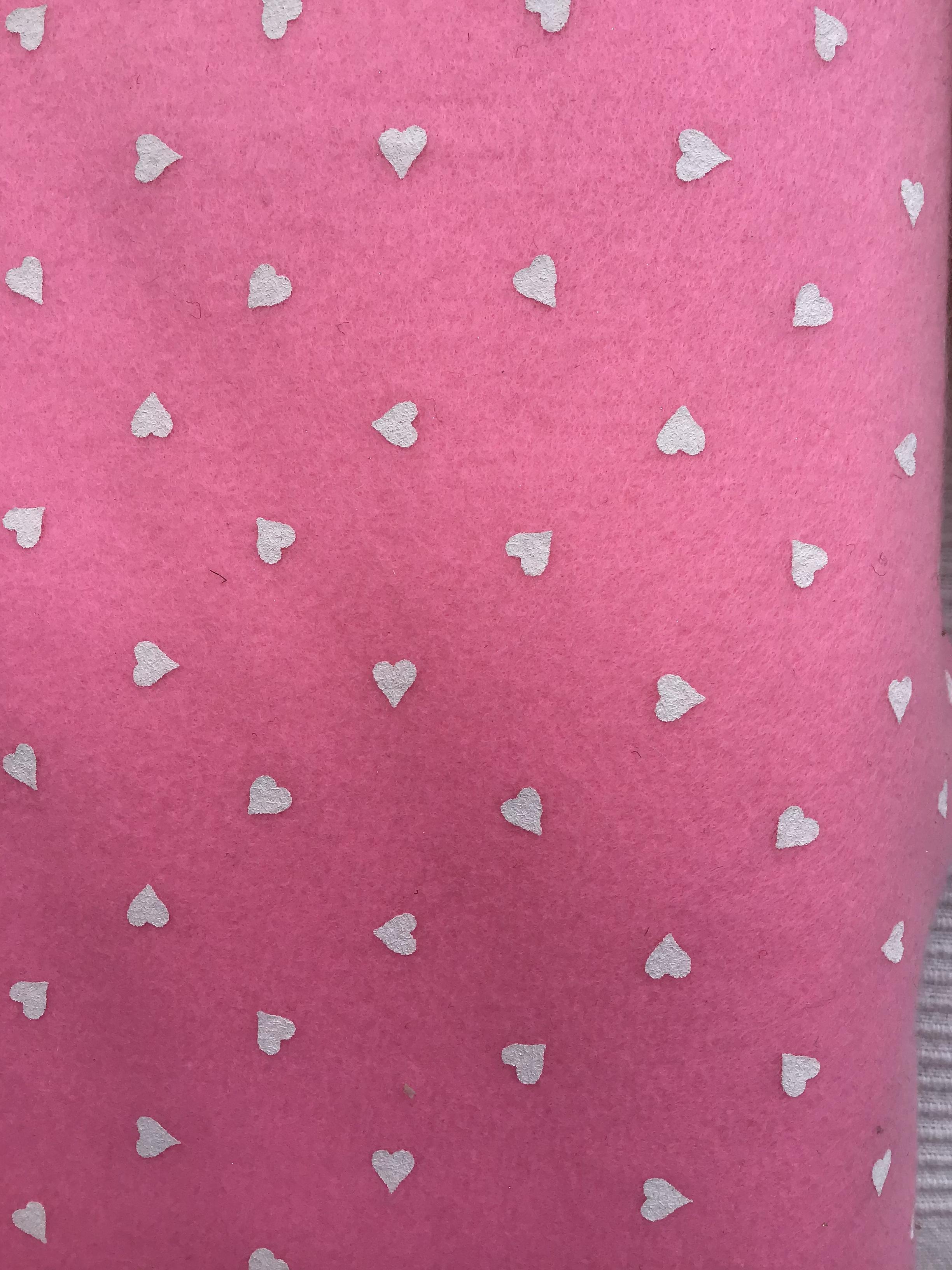 Pannò stampato cuoricini rosa
