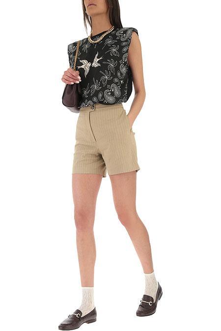 Shorts Loquace gessati in lino Pinko