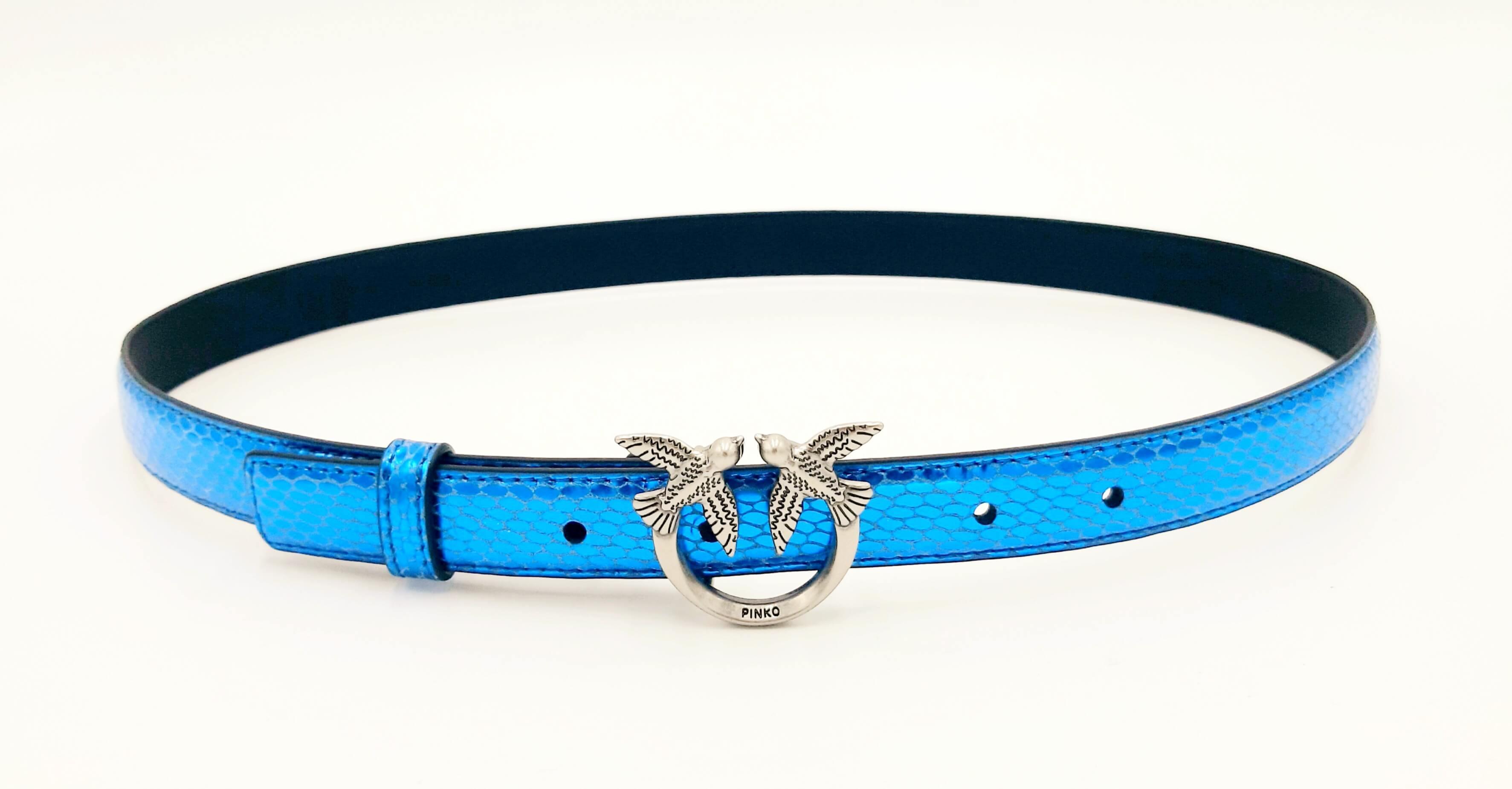 Cintura Berry small laminata blu Pinko